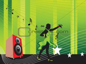 beautifull female silhouette dancing on music background_23, wallpaper