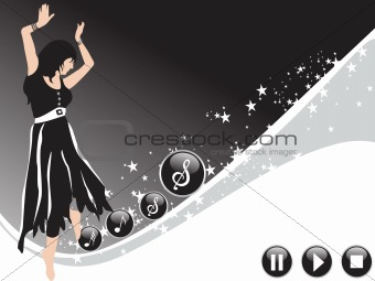 beautifull female silhouette dancing on music background_25, wallpaper