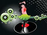 beautifull female silhouette dancing on music background_30, wallpaper