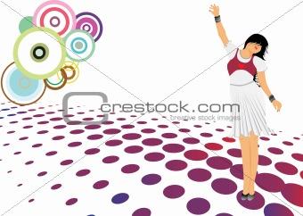 beautifull female silhouette dancing on music background_36, wallpaper