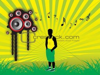 beautifull female silhouette dancing on music background_37, wallpaper