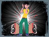 beautifull female silhouette dancing on music background_38, wallpaper