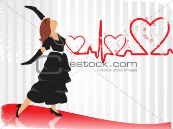 beautifull female silhouette dancing on music background_39, wallpaper