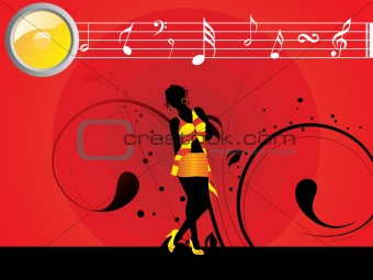 beautifull female silhouette dancing on music background_41, wallpaper