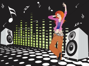 beautifull female silhouette dancing on music background_5, wallpaper