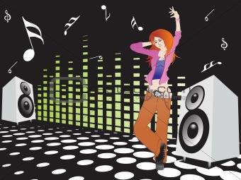 beautifull female silhouette dancing on music background_5, wallpaper