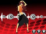 beautifull female silhouette dancing on music background_6, wallpaper