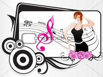 beautifull female silhouette dancing on music background_8, wallpaper