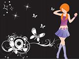 vector dancing girl and floral_4, wallpaper