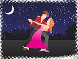 vector music city night background and tango dancer couple_1, wallpaper