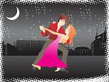 vector music city night background and tango dancer couple_2, wallpaper