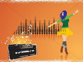 beautifull female silhouette dancing on music background_31, wallpaper