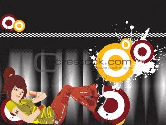 beautifull girl listening music on grunge background, wallpaper