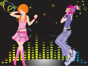 beautifull silhouette of dancing couple on music background_1, wallpaper