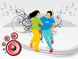 beautifull silhouette of dancing couple on music background_2, wallpaper