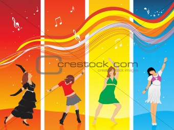 beautifull silhouettes in dancing pose on disco background, wallpaper