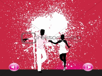 black silhouette of dancing couple on gunge background, wallpaper