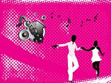 black silhouette of dancing couple on music background_3, wallpaper