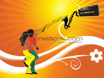 black silhouette of dancing couple on music background_5, wallpaper