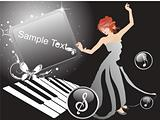 girl in a nice dress with sample text on musical background