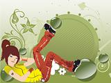girl listening music on floral background, vector