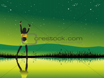 green disco banner with dancing silhouette, vector