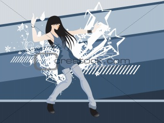 grunge floral stars with dancing girl on the background, vector