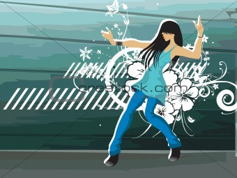 grunge floral with dancing girl on the background, vector