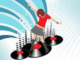 grunge music graph background with lady dancer and disc, wallpaper