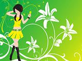 vector dancing girl and floral green wallpaper