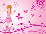vector dancing girl and floral heart, pink wallpaper