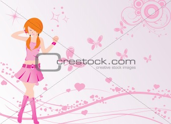 vector dancing girl and floral with butterfly and heart, wallpaper
