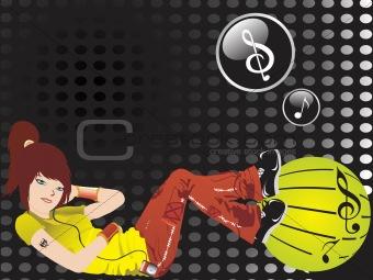 beautifull girl listening music on spotted black background, wallpaper