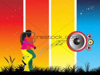 black silhouette of dancing couple on music background_4, wallpaper
