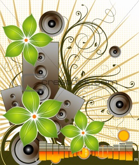Floral music background.