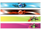 web 2.0 glossy banners set with swirl elements, vector wallpaper