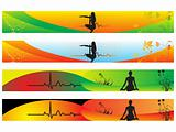 vector web 2.0 banner with medical medical sign set 9