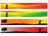 vector yoga concept web 2.0 banner set 4