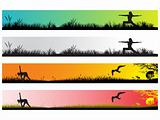 vector yoga concept web 2.0 banner set 9