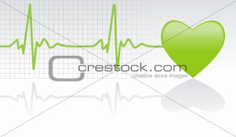Green Heart with ECG Graph