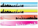 web 2.0 style grunge city series website banner set 3