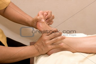 Foot massage in spa