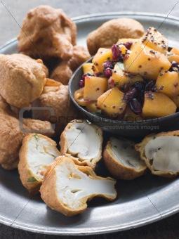 Pakoras- Mushroom and Cauliflower with Mango Mustard and Pomegra