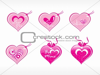 beautifull tag with romantic heart set_12