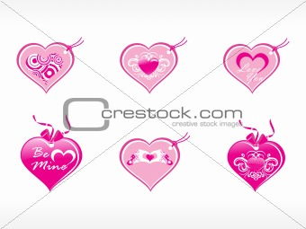 beautifull tag with romantic heart set_13
