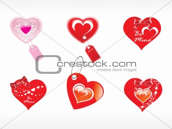 beautifull tag with romantic heart set_15