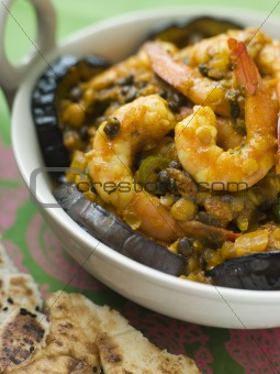 Dish of Prawn Dhansak with Naan Bread