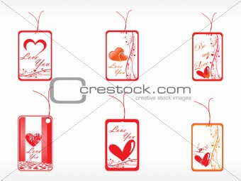 beautifull tag with romantic heart set_7
