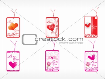 beautifull tag with romantic heart set_9
