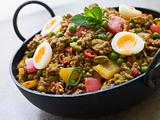 Karahi Dish with Punjabi Keema Mattar and Quail Eggs